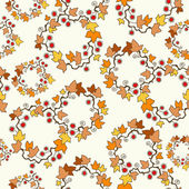 Vector seamless background: autumn maple leaves on white. — Stock Vector