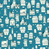 Seamless pattern of houses, lanterns and trees. — Stock Vector