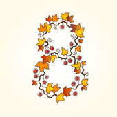 Autumn fall bright orange leaves number — Stock Vector