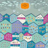 Vettoriale illustrazione con città carino e posto per il vostro testo — Vettoriale Stock
