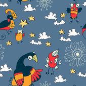 Seamless texture of the sky with hand-drawn cartoon birds — Stock Vector