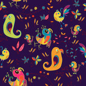 Vector illustration of seamless pattern with tropical birds — Stock Vector