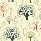Seamless retro tree pattern with forest illustration in vector — Stock Vector