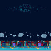 Night cute city. Seamless. Background with clouds — Stok Vektör