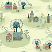 Cartoon map seamless pattern of old town — Stock Vector