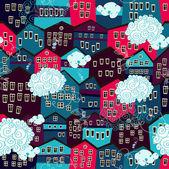 Patrones sin fisuras con coloridas casas con nubes — Vector de stock
