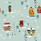 Winter Christmas seamless pattern with houses and trees — Stock Vector