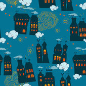 Seamless pattern with houses in the night sky — Stock Vector
