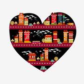 City love - heart shape with many icons — Stock Vector