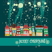 Christmas card with cute little town in winter — Stock Vector