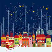 Winter background with city — Stock Vector