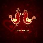 Vector illustration with love birds — Stock Vector