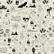 Halloween seamless pattern with icons — Stock Vector