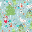 Seamless with Santa Claus and Christmas trees — Vector de stock