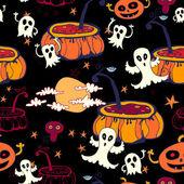 Seamless halloween background. pumpkin. ghosts — Vector de stock
