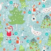 Sem costura com papai noel e árvores de natal — Vetorial Stock