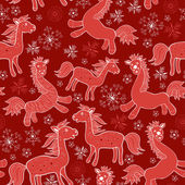 Seamless with Christmas red drawing horses — Stock Vector