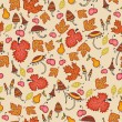 Cute autumn thanksgiving floral seamless — Stock Vector