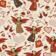Valentine wallpaper wiht cute angels — Imagen vectorial