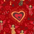 Romantic valentine pattern with angel — Vector de stock