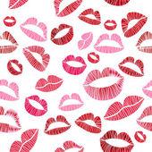 Seamless hot love lips illustration kissing — Stock Vector