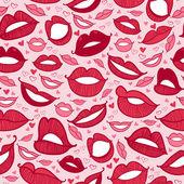 Seamless hot love lips illustration — Stock Vector