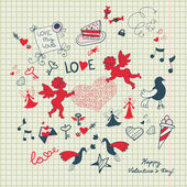 Valentine's day scrapbook page with love sketch — Stockvektor