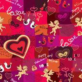Patrones sin fisuras con iconos de amor — Vector de stock