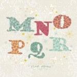 Cute floral alphabet. Letters M, N, O, P, Q, R — Stock Vector