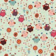 Cute seamless owl background patten for kids — Imagen vectorial