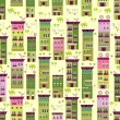 Doodle town houses seamless background — Stockvectorbeeld