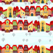 Seamless with little town in winter — Stock Vector #33654535