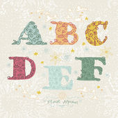 Cute floral alphabet. Letters A, B, C, D, F, E — Stock Vector