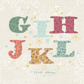 Cute floral alphabet. Letters G, I, H, J, K, L — Stock Vector