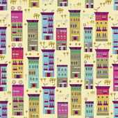 Doodle town houses seamless background — Stock Vector
