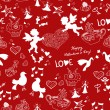 Romantic love red seamless pattern — Stok Vektör