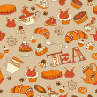 Tea,sweets seamless doodle pattern — Stock Vector