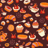 Retro coffee seamless pattern, tea background — Stock Vector