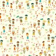 Bright nature seamless pattern in cartoon style — Cтоковый вектор