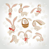 Vector illustration of collection of Easter bunny — Stock Vector