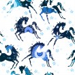 Seamless pattern with blue horses — Stock Vector