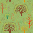 Vector spring trees seamless pattern — Stock Vector