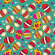 Blue pattern with colorful Easter eggs. — Stock Vector