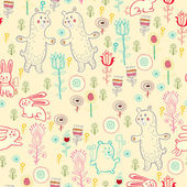 Bright childish seamless pattern with animals — Stock Vector