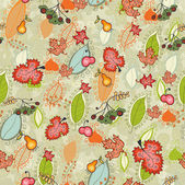 Cute autumn thanksgiving floral seamless — Stock Vector