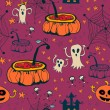 Seamless halloween with ghosts — 图库矢量图片