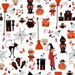 Seamless halloween party pattern with icons — Stock Vector