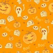 Pattern with Halloween objects. — Stockvektor