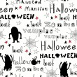 Halloween pattern with ghosts, monsters — Imagen vectorial
