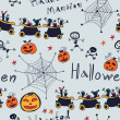 Halloween cartoon seamless retro pattern — Imagen vectorial